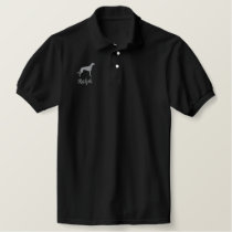 Greyhound Silhouette with Custom Text Embroidered Polo Shirt