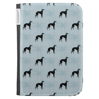 Greyhound Silhouettes Blue Tile Pattern Kindle 3 Covers