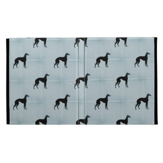 Greyhound Silhouettes Blue Tile Pattern iPad Cases