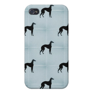 Greyhound Silhouettes Blue Tile Pattern Covers For iPhone 4