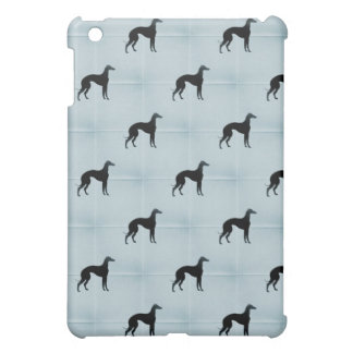 Greyhound Silhouettes Blue Tile Pattern iPad Mini Cover