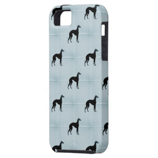 Greyhound Silhouettes Blue Tile Pattern iPhone SE/5/5s Case