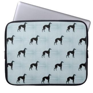 Greyhound Silhouettes Blue Tile Pattern Laptop Sleeve