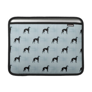 Greyhound Silhouettes Blue Tile Pattern MacBook Sleeves