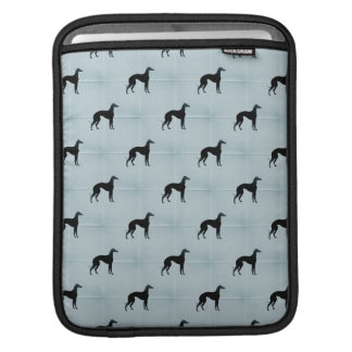 Greyhound Silhouettes Blue Tile Pattern Sleeves For iPads