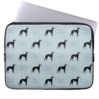 Greyhound Silhouettes Dog Pattern on Blue Laptop Sleeves