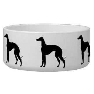 Greyhound Silhouettes in Black and White Pet Bowl