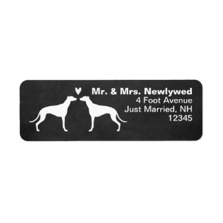 Greyhound Silhouettes with Heart Label