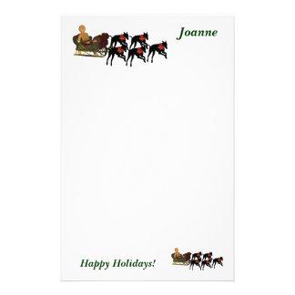 Greyhound Sleigh Christmas Personalized Stationery