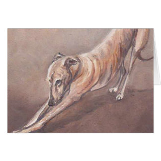 Greyhound Stretch Dog Art Note Card
