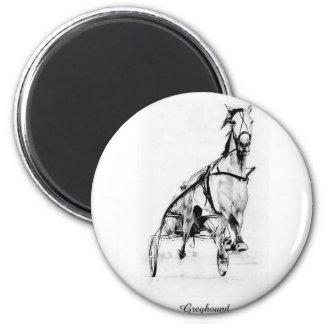 Greyhound Trotter 2 Inch Round Magnet