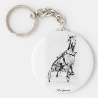 Greyhound Trotter Basic Round Button Keychain