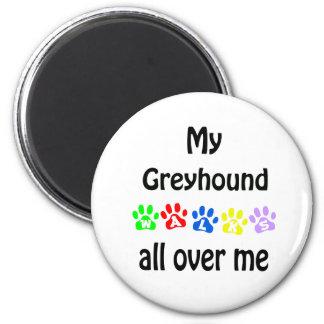 Greyhound Walks Design 2 Inch Round Magnet