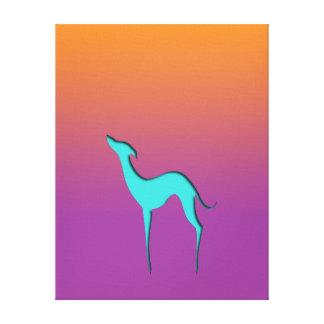 Greyhound/Whippet blue orange violet Canvas print