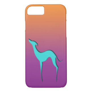 Greyhound/Whippet blue orange violet iPhone 7 case