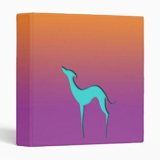 Greyhound Whippet blue orange violet Ring binder