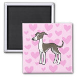 Greyhound / Whippet / Italian Greyhound Love 2 Inch Square Magnet