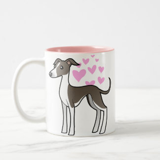 Greyhound / Whippet / Italian Greyhound Love Two-Tone Coffee Mug