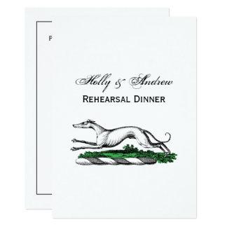 Greyhound Whippet Running Heraldic Crest Emblem Card