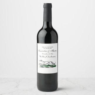 Greyhound Whippet Running Heraldic Crest Emblem Wine Label