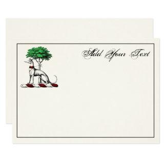 Greyhound Whippet Tree Heraldic Crest Note Card Iv