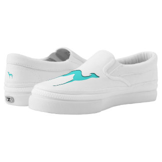 Greyhound/Whippet turquoise blue silhouette Slip-On Sneakers