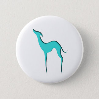Greyhound/Whippet turquoise silhouette Button