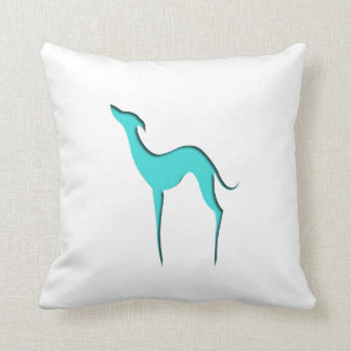 Greyhound/Whippet turquoise silhouette Pillow