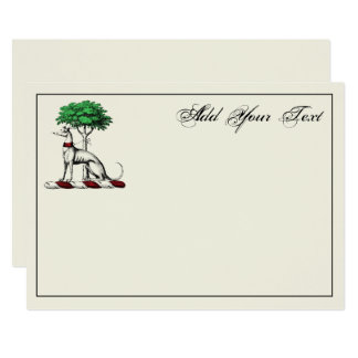Greyhound Whippet W/Tree Heraldic Crest Note Card