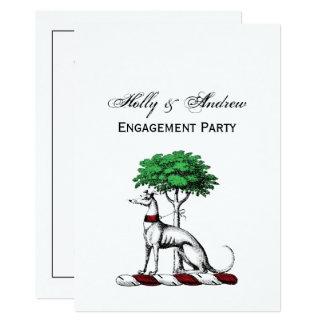Greyhound Whippet With Tree Heraldic Crest Emblem Card