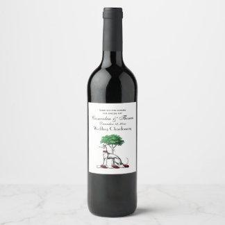 Greyhound Whippet With Tree Heraldic Crest Emblem Wine Label