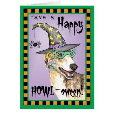 Halloween Themed Greyhound Witch Card