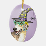 Greyhound Witch Christmas Ornament