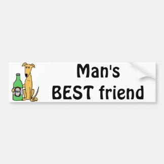 Greyhound with Beer Bottle Bumper Sticker