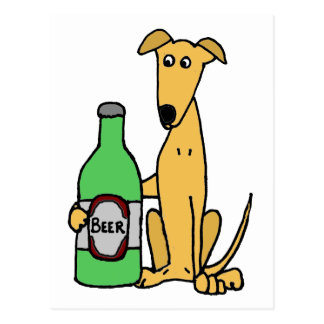 Greyhound with Beer Bottle Postcard