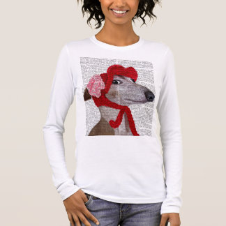 Greyhound with Red Woolly Hat 2 Long Sleeve T-Shirt