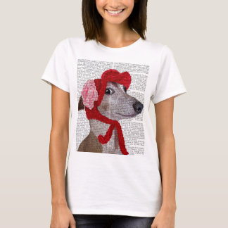 Greyhound with Red Woolly Hat 2 T-Shirt