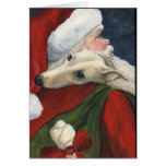 """Greyhound with Santa"" Dog Art Christmas Card"