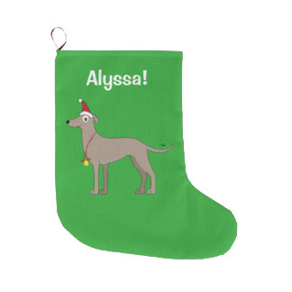 Greyhound with Santa Hat and Christmas Bell Large Christmas Stocking