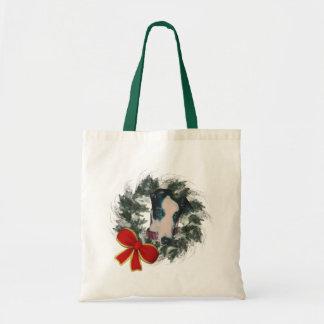 Greyhound Wreath Christmas Holiday Tote Bag