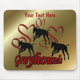 Greyhounds And Red Hearts Dog Mouse Pad