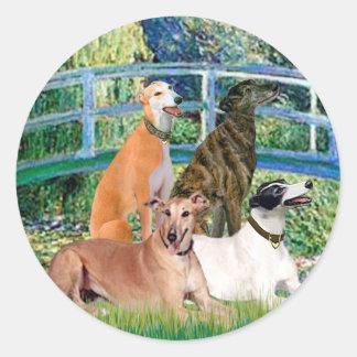Greyhounds (four) - Bridge Classic Round Sticker