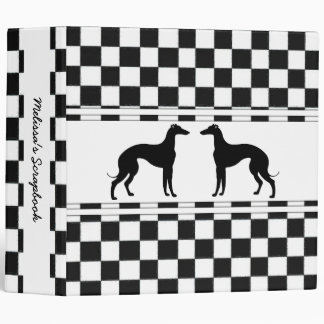 Greyhounds in Black and White Check Personalized 3 Ring Binder