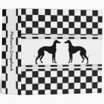 Greyhounds in Black and White Check Personalized Vinyl Binder