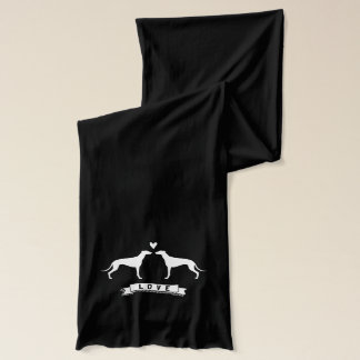 Greyhounds Love - Dog Silhouettes w/ Heart Scarf