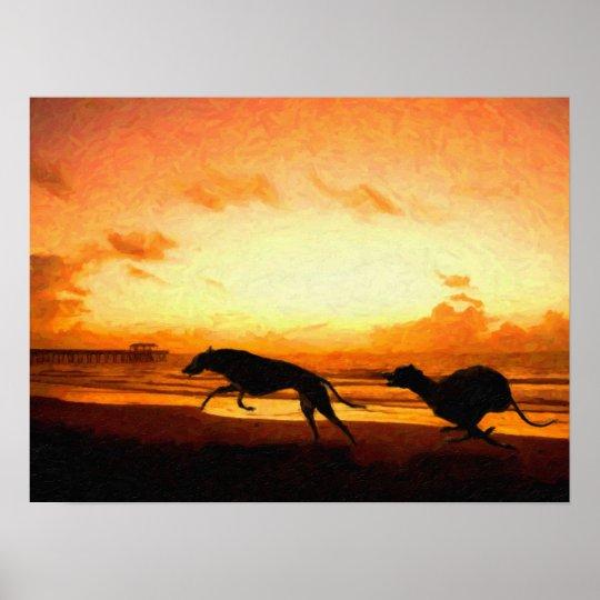 Greyhounds on Beach Poster