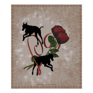 Greyhounds Red Roses Heart Poster