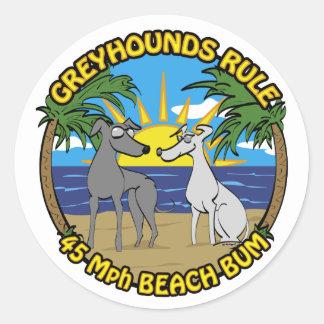 GREYHOUNDS RULE 45 Mph BEACH BUM Classic Round Sticker
