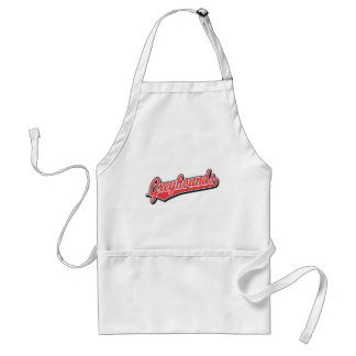 Greyhounds script logo in red and grey adult apron