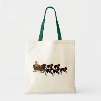 Greyhounds Sleigh Christmas Holiday Tote Bag